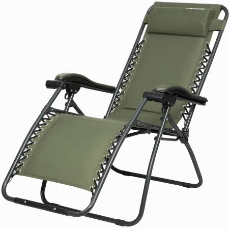 """Capture Outdoor, Chaise longue luxe pliante de jardin """"Relax RZ-1"""", inclinaison réglable, accoudoirs, toile doublée, coussin, …"""