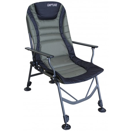 "Capture Outdoor, Carp Levelchair ""Prestige AR-4"", chaise Carpiste, luxe, Oxford 600d, dossier réglable, avec accoudoirs, …"